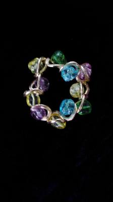 multicoloured stone ring